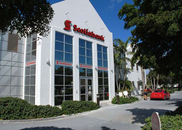 A photograph of the Scotiabank on Leeward Highway, Providenciales (Provo), Turks and Caicos Islands, British West Indies