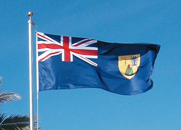 A photograph of the Turks and Caicos Islands flag, which features a lobster, conch and Turks Head cactus.