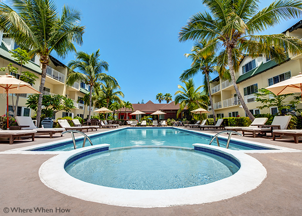 A photograph of Ports of Call Resort, centrally in Grace Bay, Providenciales (Provo), Turks and Caicos Islands.
