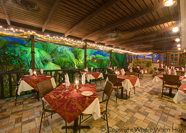A photograph of Dining on The Terrace at Bella Luna Ristorante, Grace Bay, Providenciales (Provo), Turks and Caicos Islands.