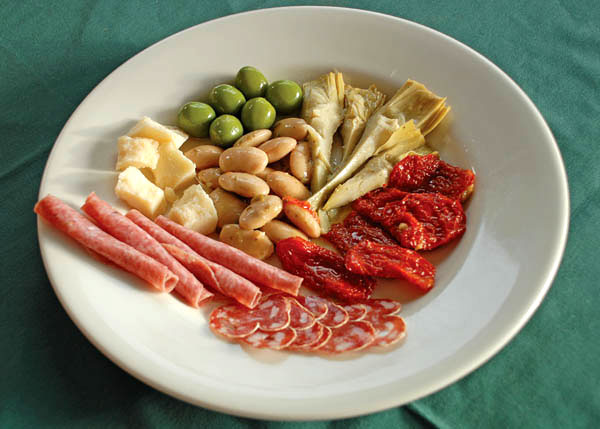 A photograph of the Bella Luna Antipasto Platter for Two at Bella Luna Ristorante, Grace Bay, Providenciales (Provo), Turks and Caicos Islands.