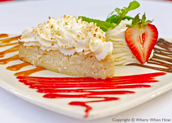 A photograph of the Coconut Pie at Coco Bistro, Grace Bay Road, Providenciales (Provo), Turks and Caicos Islands.