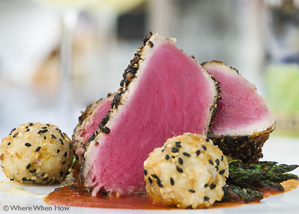 A photograph of the Pepper Crusted Rare Local Tuna with Rice Balls at Coco Bistro, Grace Bay Road, Providenciales (Provo), Turks and Caicos Islands.