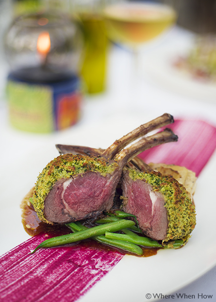 A photograph of the Roast Lamb Rack with a Herb Crust at Coco Bistro, Grace Bay Road, Providenciales (Provo), Turks and Caicos Islands.