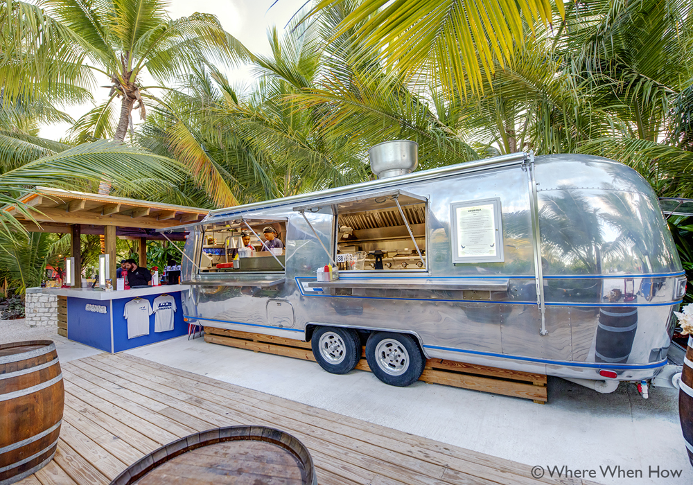 A photograph of the cocovan, food truck, at Coco Bitro, Providenciales (Provo), Turks and Caicos Islands.