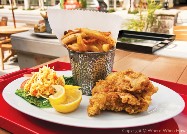A photograph of the Fish and Chips at Danny Buoys Bar and Restaurant, Grace Bay, Providenciales (Provo), Turks and Caicos Islands.