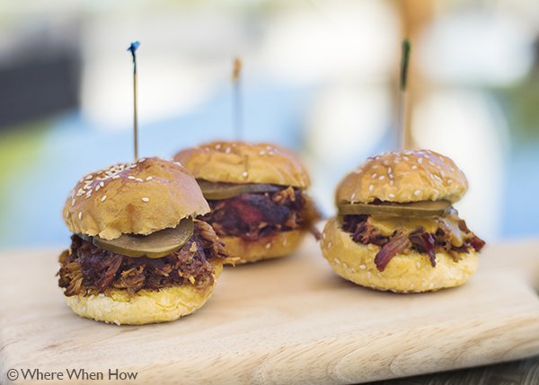 A photograph of Pulled Pork Sliders at The Landing Bar & Kitchen, Grace Bay, Providenciales (Provo), Turks and Caicos Islands.