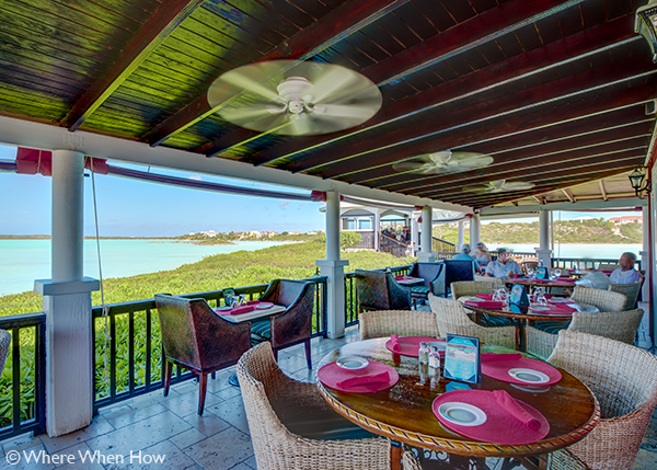 A photograph of Las Brisas overlooking Chalk Sound National Park, Providenciales (Provo), Turks and Caicos Islands.