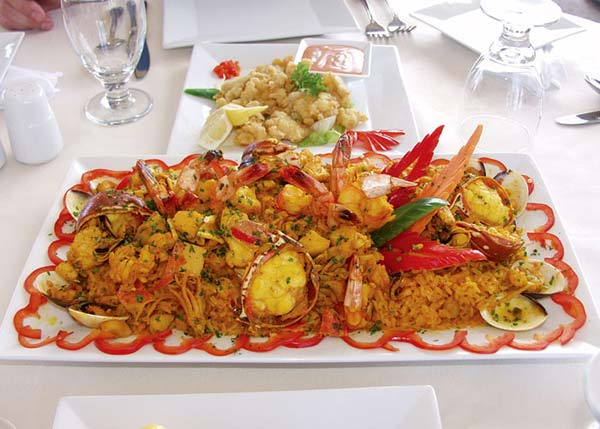 A photograph of Paella Seafood Rice Special at Las Brisas Restaurant, Chalk Sound, Providenciales (Provo), Turks and Caicos Islands.