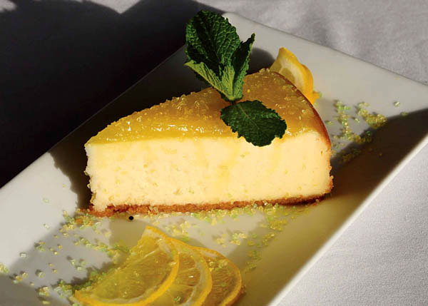 A photograph of The Lemon Cheesecake at Las Brisas Restaurant, Chalk Sound, Providenciales (Provo), Turks and Caicos Islands.