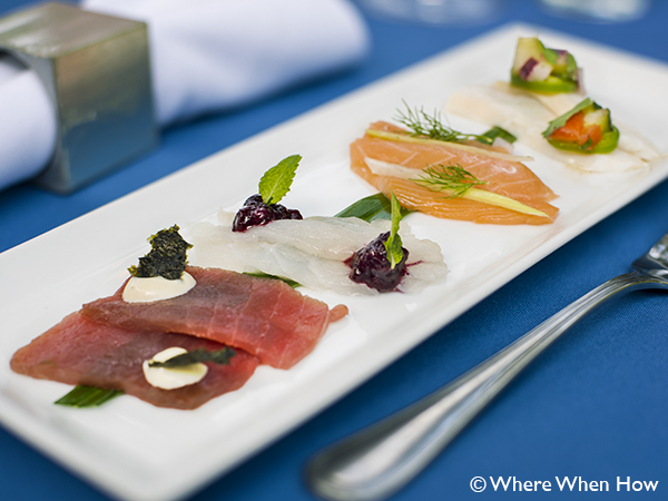 A photograph of Nightly Special - Fresh Crudo Tasting at Opus located at Ocean Club Plaza, Providenciales (Provo), Turks and Caicos Islands.