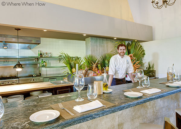 A photograph of Executive Chef Justine Currie at Pavilion at The Somerset, Grace Bay, Providenciales (Provo), Turks and Caicos Islands.