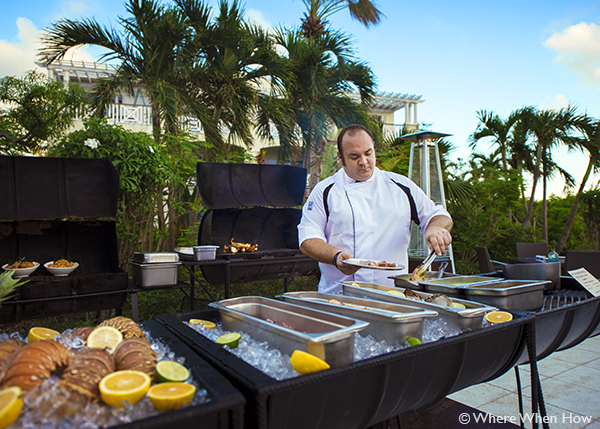 A photograph of Chef Peter Redstone at Pelican Bay Restaurant & Bar, Royal West Indies Resort, Providenciales (Provo), Turks and Caicos Islands.