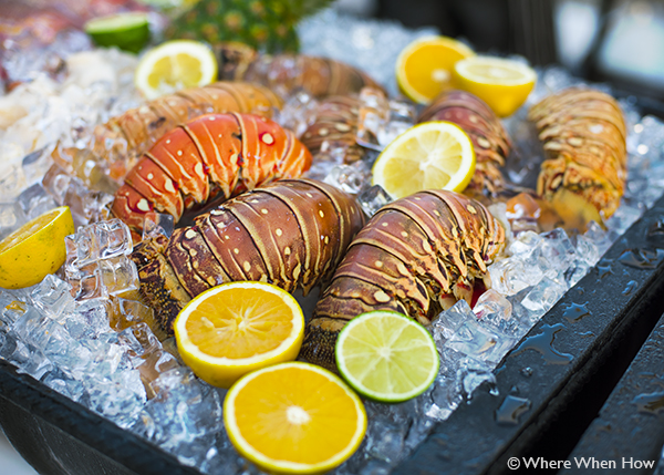 A photograph of Lobster Buffet Pelican Bay Restaurant & Bar, Royal West Indies Resort, Providenciales (Provo), Turks and Caicos Islands.