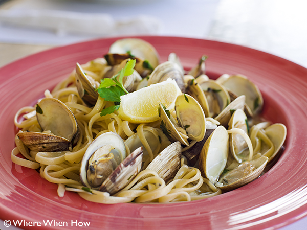A photograph of Steamed Clams with Linguine and your choice of sauces, Grace Bay Plaza, Providenciales (Provo), Turks and Caicos Islands.