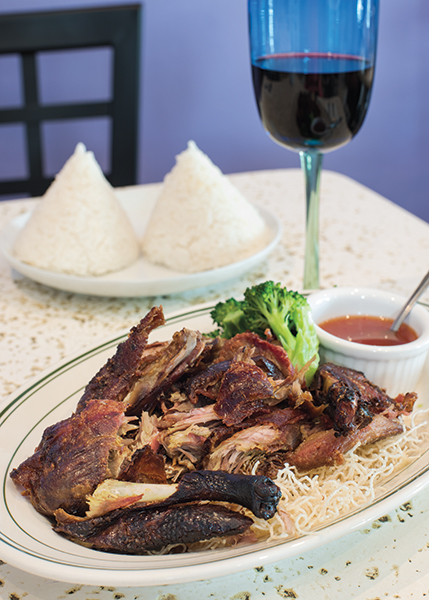 A photograph of Thai Orchid's Crispy Duck #48 in the Regent Village, Providenciales (Provo), Turks and Caicos Islands.