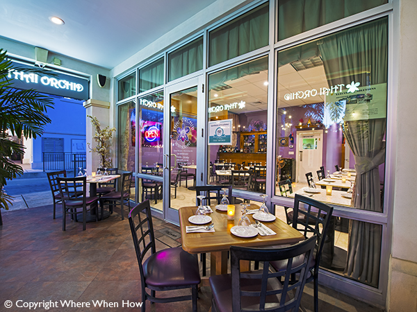 A photograph of Outside dining  at Thai Orchid Restaurant in the Regent Village, Providenciales (Provo), Turks and Caicos Islands.