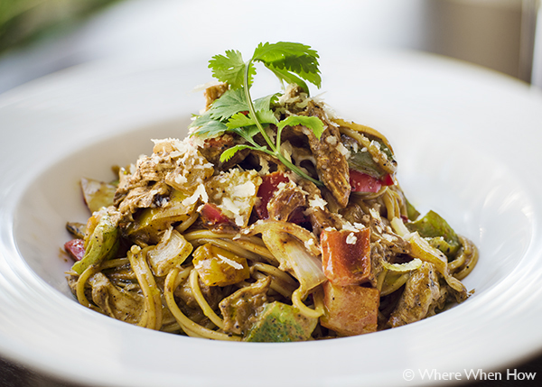 A photograph of Jerk Chicken Rasta Pasta at The Vix Bar & Grill, Regent Village, Grace Bay, Providenciales (Provo), Turks and Caicos Islands.