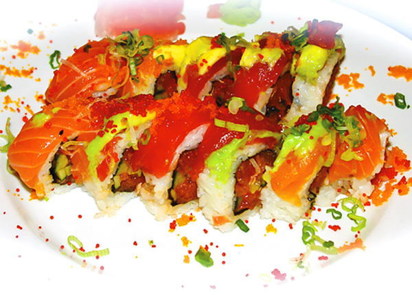 A photograph of a Caribbean Roll at Yoshis Japanese Restaurant, Providenciales (Provo), Turks and Caicos Islands.