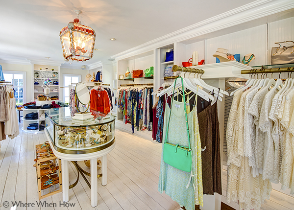 A photograph of clothing and accessories at Wish Boutique, The Palms, Providenciales (Provo), Turks and Caicos Islands.