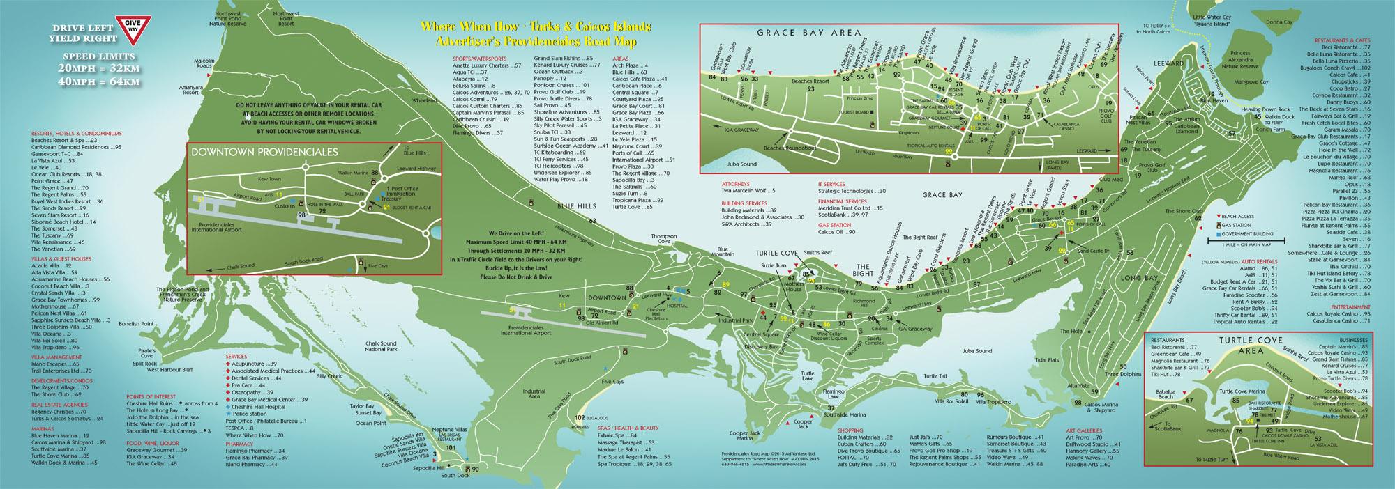 Turks and Caicos Islands Maps - Providenciales (Provo), North Caicos ...