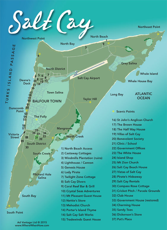 A map of Salt Cay in the Turks and Caicos Islands
