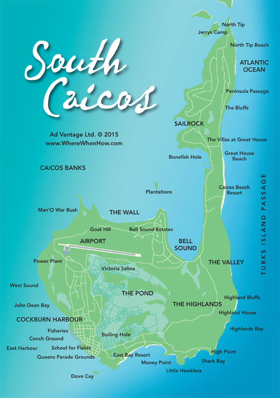 A map of South Caicos in the Turks and Caicos Islands