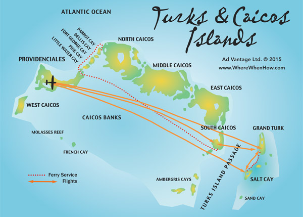 A map of the Turks and Caicos Islands