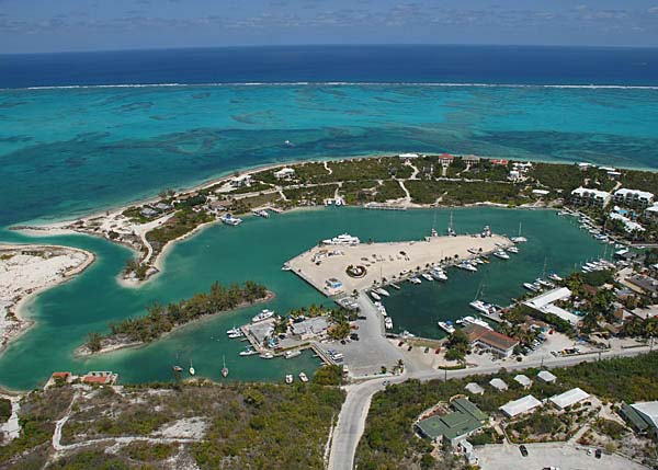 A photograph of the Turtle Cove Marina, Providenciales (Provo), Turks and Caicos Islands, British West Indies
