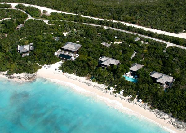 A photograph of The Sanctuary, belonging to Donna Karan, Parrot Cay, Turks and Caicos Islands, British West Indies