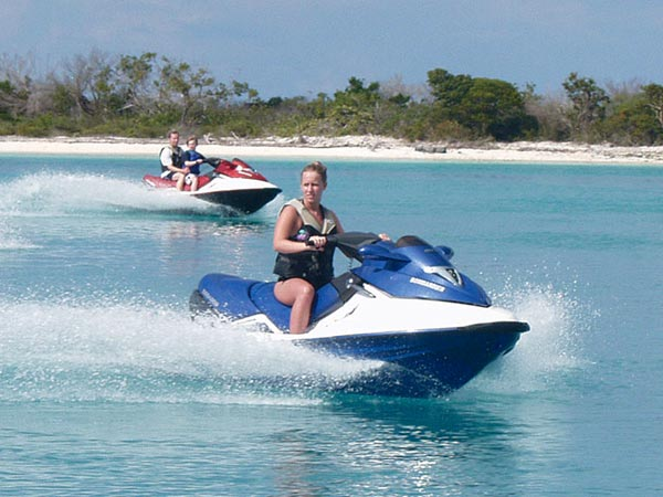 A photograph of SeaDoo personal watercraft on Providenciales (Provo), Turks and Caicos Islands