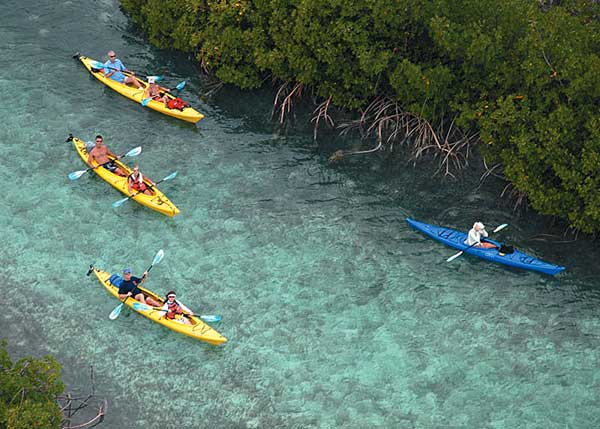 A photograph of kayaking in the Princess Alexandra Nature Reserve, Providenciales (Provo), Turks and Caicos Islands
