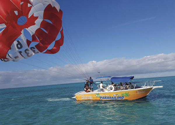 A photograph of parasailing with Key to the Sea Parasailing, Providenciales (Provo), Turks and Caicos Islands, British West Indies