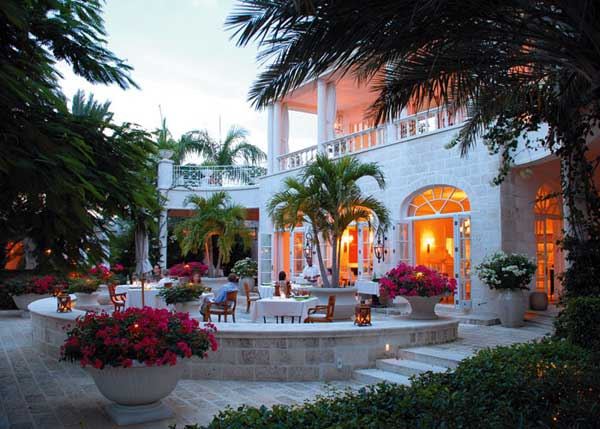 A photograph of one of the outdoor dining areas at Parallel23 Restaurant, The Regent Palms, Providenciales (Provo), Turks and Caicos Islands.