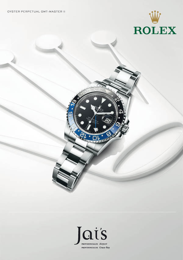 An advertisement for The Explorer II Rolex available at Jai's Duty Free, Regent Village, Providenciales (Provo), Turks and Caicos Islands
