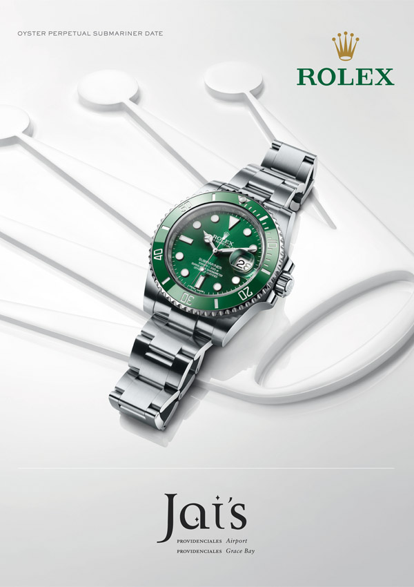 An advertisement for The Oyster Perpetual Submariner Date Rolex available at Jai's Duty Free, Regent Village, Providenciales (Provo), Turks and Caicos Islands