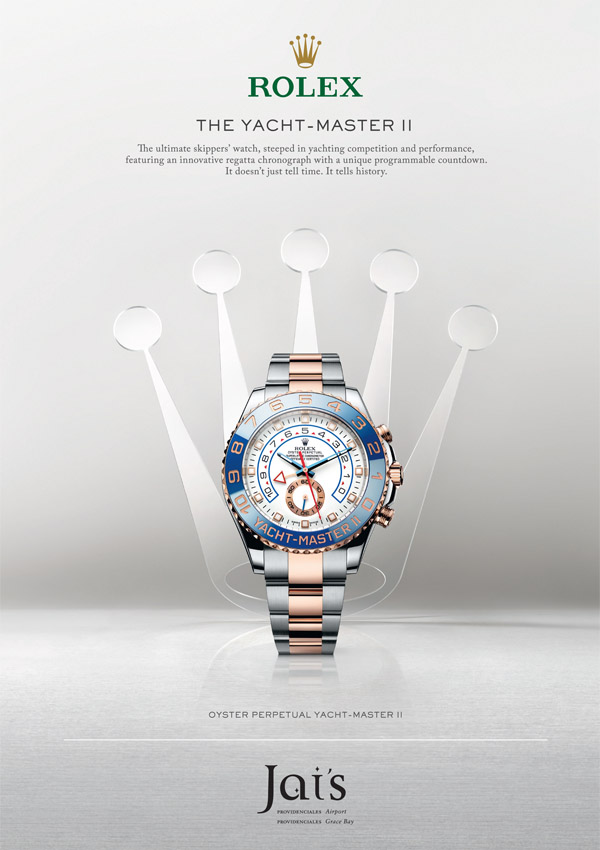 An advertisement for The Yacht-Master II Rolex available at Jai's Duty Free, Regent Village, Providenciales (Provo), Turks and Caicos Islands