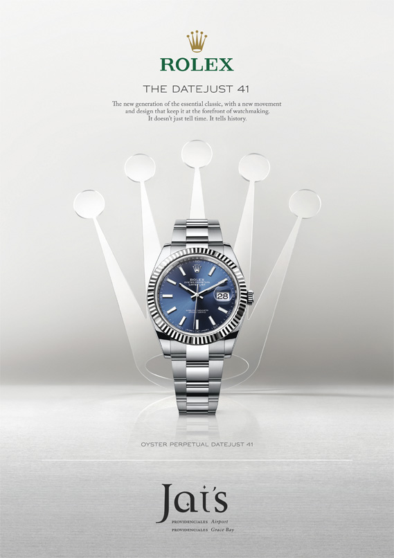 An advertisement for The Oyster Perpetual Datejust 41 Rolex available at Jai's Duty Free, Regent Village, Providenciales (Provo), Turks and Caicos Islands