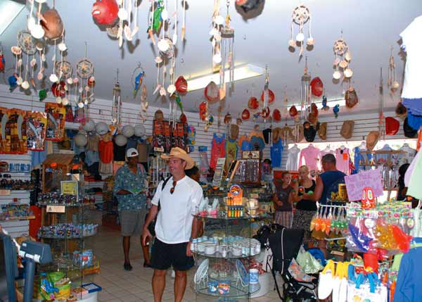 A photograph of shoppers at MaMa's Gift Shop, Providenciales (Provo), Turks and Caicos Islands.