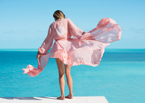 A photograph of Sea-Sage scarves on the beach, Providenciales (Provo), Turks and Caicos Islands.