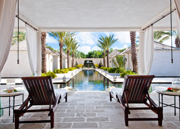 A photograph of the lounge area at Regent Palms Spa on Providenciales (Provo), Turks and Caicos Islands