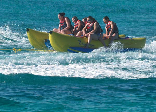 A photograph of a banana boat ride around Grace Bay, Providenciales (Provo), Turks and Caicos Islands