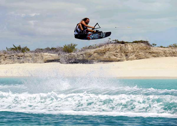A photograph of wakeboarding around Providenciales (Provo), Turks and Caicos Islands, British West Indies