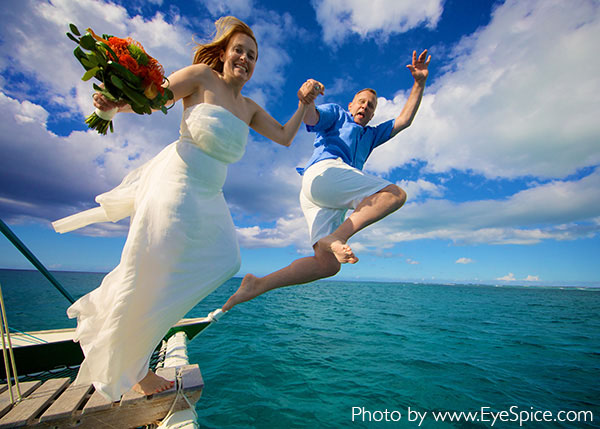 A photograph of the wedding of Jolyn English and Rick Johnson married 14 April 2014 on Water Cay, Providenciales (Provo), Turks and Caicos Islands