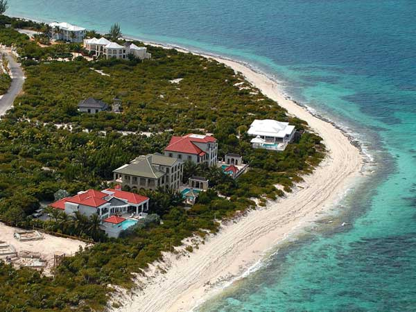 A photograph of the Turtle Cove area at Smith' Reef on Providenciales (Provo), Turks and Caicos Islands, British West Indies