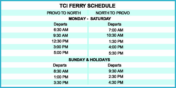 A photograph of the TCI Ferry Service schedule to North Caicos