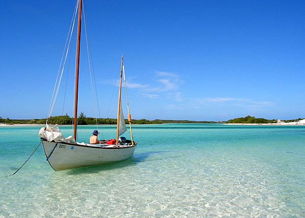 A photograph of Amphibious Adventures anchored off of East Bay Cay National Park, Turks and Caicos Islands.