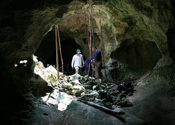 A photograph of a cave opening on East Caicos, Turks and Caicos Islands.