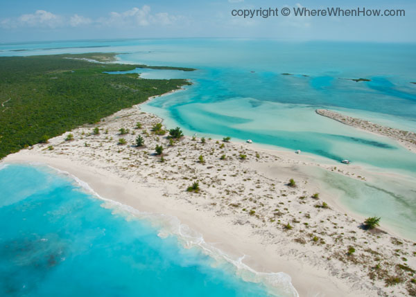 A photograph of Half Moon Bay and Little Water Cay, Turks and Caicos Islands.